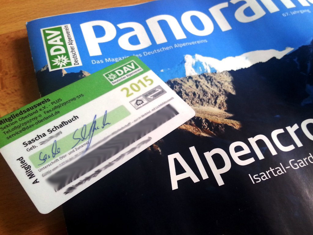 DAV Mitgliedsausweis und Bergsteigermagazin Panorama